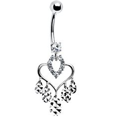 Solid 14K White Gold Majestic Heart Chandelier Belly Ring