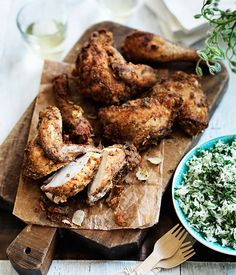Greek-style fried chicken with herb rice :: Gourmet Traveller Magazine Mobile