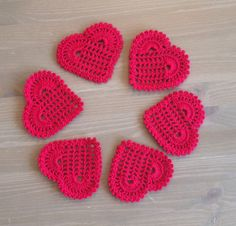 """Crochet: Set of 6 """"Red Hearts"""" coasters by NadoandLola on Etsy Red Hearts, Crochet Doilies, Coasters, Crochet Earrings, Knitting, Unique Jewelry, Handmade Gifts, How To Make, Environment"""