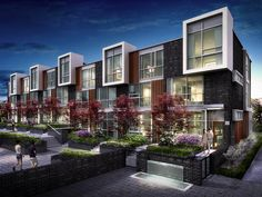 Modern townhouses- differentiation and cohesion - 101 Erskine Townhomes Image Gallery Modern Townhouse, Townhouse Designs, Luxury Townhomes, Architecture Résidentielle, Toronto Condo, Narrow House, Social Housing, Facade House, Building Design