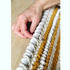 Just a short video on how I like to finish my weavings by sewing them onto a dowel loom videos Attaching your weaving Weaving Loom Diy, Loom Craft, Weaving Art, Tapestry Weaving, Weaving Textiles, Weaving Patterns, Weaving Wall Hanging, Weaving Projects, Weaving Techniques