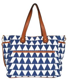 Blue Triangle Tote Bag The Libra White Elm Designer Collection Canvas & Vegan Leather Trim Diaper/Laptop