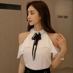 Find BlackPink Clothes, KPOP Shirts & KPOP Blouses for an affordable price Kpop Shirts, Blackpink Fashion, Lace Ribbon, Shop Now, Ruffle Blouse, Shoulder, Model, Shopping, Clothes