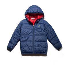 Lacoste Boys' Reversible Bicolor Quilted Jacket - Navy Blue/Navy Blue-Straw 12 Years