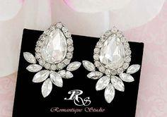 Crystal cluster bridal stud earrings vintage by RomantiqueStudio, $32.00
