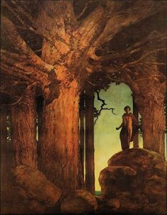 """Maxfield Parrish """"Jason and the Talking Oak"""" 1910 """"He looked up among the knotted branches and green leaves, and into the mysterious heart of the old tree."""""""
