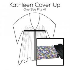 Kathleen Cover Up Pattern with Flower Fabric Kit Flower Fabric, Pattern Paper, Simple Designs, Cover Up, Kit, Prints, Simple Drawings, Floral Fabric