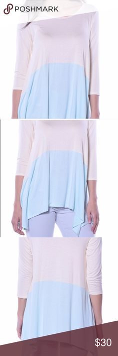 """Beautiful Pastels """"Sunny Sidetail Tunic""""! Gorgeous pastel tunic! Cream on top and pastel blue on bottom with 3/4 length sleeves! Stretchy in material and flowy! Perfect for a fall day or can pair with some khakis for the office! Available in small, medium, and large! Pastels Clothing Tops Tunics"""