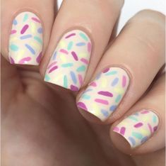 Funfetti Nail Art | 23 Spring Nail Art Designs, check it out at http://makeuptutorials.com/nail-designs-spring-nail-art/