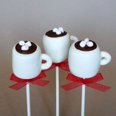 12 Hot Chocolate or Coffee Mug Cake Pops - for snow days, winter party or wedding favors, hostess or teacher gift. $39.00, via Etsy.