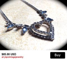 Bridal Heart Rhinestone Necklace Romantic Runway Statement Necklace with Blue Rhinestone accents