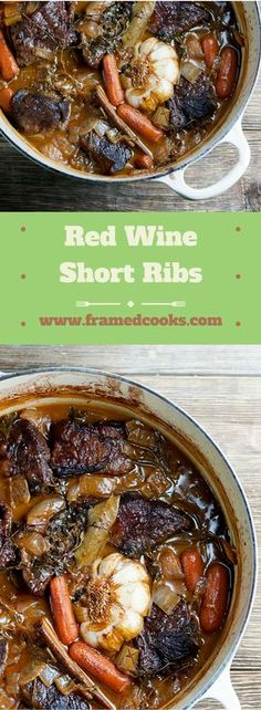 This easy recipe for red wine short ribs is the perfect comfort food for a lazy fall weekend! This easy recipe for red wine short ribs is the perfect comfort food for a lazy fall weekend! Veggies and ribs cook long and low for an amazing flavor. Rib Recipes, Fall Recipes, Cooking Recipes, Fall Dinner Recipes, Braised Short Ribs, Beef Ribs, Le Diner, Comfort Food, Beef Dishes