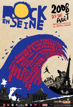 Rock en Seine - Atelier kobugi Mark Ronson, Jules Verne, Festival Posters, Music Festivals, Rock, Movie Posters, Inspire, Culture, Art