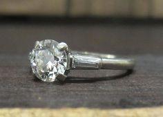 Super Fiery Late Art Deco Round Brilliant .80ct and Baguette Diamond Ring Platinum c. 1940