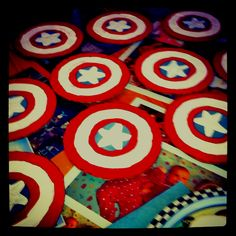 """Super hero themed party: Captain America shields for """"ring toss"""""""