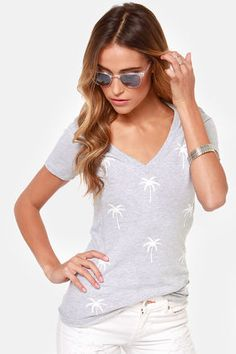 Dot Palm Grey Tee
