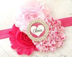 Nylon Baby Headband Valentine Headband Pink Bow by maddieandbean
