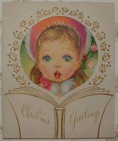 Little Girl Caroling - 1950's Vintage Christmas Greeting Card
