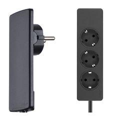 EVOline Plug Socket Rail Black, extra flat plug with moveable head Apple Tv, Cupboard, Plugs, Door Handles, Remote, Color Black, Channel, Lighting, Nice
