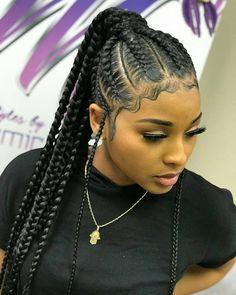 Pin By Darline On Braids Braids For Black Hair Braided Ponytail Hairstyles Braided Hairstyles- cornrow hairstyles for black women new hairstyles for black women Braided Ponytail Hairstyles, African Braids Hairstyles, Weave Hairstyles, Girl Hairstyles, Hairstyles 2018, Feed In Braids Ponytail, Cornrows Ponytail, Loose Braids, Twist Braids