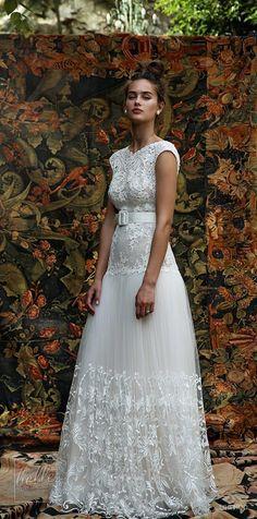 Rustic wedding dress by Lihi Hod | Non strapless Lace bridal gown #weddingdress #weddingdresses #bridalgown #bridal #bridalgowns #weddinggown #bridetobe #weddings #bride