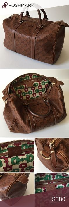 Authentic Gucci Guccissima Joy (Additional Photos) *ADDITIONAL PHOTOS on separate listing, please check my closet. Authentic Medium Soft Leather Joy Boston  Handbag •Brown •Zip Top Closure •D-Ring At Side •11in Leather Top Handles •4.5in Drop  •Approximately 12.5 x 9.5 x 6.5in   •Made in Italy  *Scuffing on edges  *No dustbag Gucci Bags
