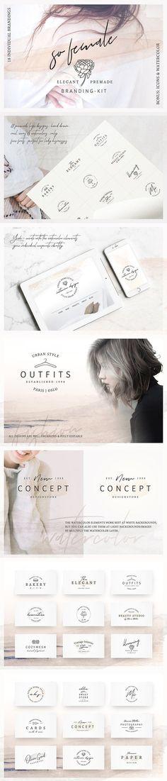 So Female Branding Kit +Watercolours by AgataCreate on @creativemarket