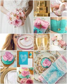 Turquoise Gold Pink Beautiful Colour Scheme Wedding 2017blue