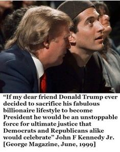 JFK and JFKjr wouldn't recognize this new socialist Democratic party. Jfk Jr, Kennedy Jr, Donald Trump, Trump Is My President, Vote Trump, Trump Wins, Kennedy Quotes, Independance Day, Political Quotes