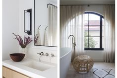 DISC Interiors #Interiordesign Spanish Home in Los Angeles #ModernSpanish Master Bathroom