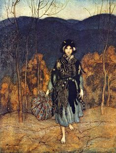 'She went along, and went along, and went along.' Catskin illustration by Arthur Rackham from English Fairy Tales, 1918