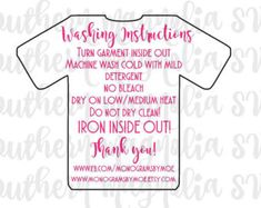 Wash Care Instruction Tags Set Of Heat Transfer Vinyl Care - Custom vinyl decal application instructions pdfcare and instructions es signs