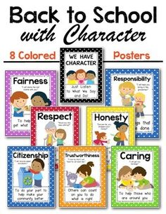 Back to School with Character Posters for the Kindergarten and First Grade Classroom. Use for Character Education Talks. Great for mini lessons and expectations! $