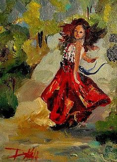 gypsy oil paintings | Delilah Gypsy Dance Original Oil Painting Figurative Colorful Art ...