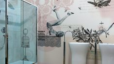 "Badezimmer Tapete mit Retro-Motiven - ""Pin-up"" von Glamora"