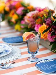 Persimmon Drayton Stripe Table Linen - Linen Rentals   Wedding Table Linen, Runners, Chair Covers   BBJ Linen Striped Table, Striped Linen, Wedding Table Linens, Striped Wedding, Linen Rentals, Beach Ball, Climbing Roses, Chair Covers, Topiary