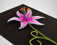 "String art ""The Stargazer Lily""   String art flower   Purple lily   String art lily   Pink lily   Original gift ideas."