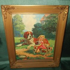 Hy Hintermeister Calendar Print of Girl with Saint Bernard Dogs - Wood and Gesso Frame