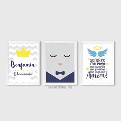 Kit quadro infantil masculino - Nome com significado. Benjamin e oração do anjo. Encomende pelo site