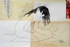 "Saatchi Online Artist Loui Jover; Drawing, ""the lovers"" #art"
