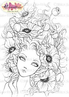 Digital Stamp - Instant Download - Red Poppies - Elf with Poppy Blooms - Fantasy…