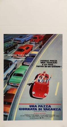 "Ferris Bueller's Day Off (1986) Vintage Italian Movie Poster - 13"" x 27.75"""