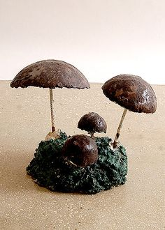 French Vintage Garden Mushrooms