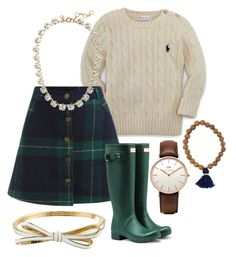"""#33 rain boots"" by naturallynatalie on Polyvore featuring Ralph Lauren, Hunter, Daniel Wellington, J.Crew and Kate Spade"