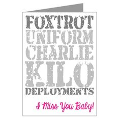 Foxtrot Uniform Charlie Kilo Deployments - excuse the intended language ;) I thought this was hilarious!