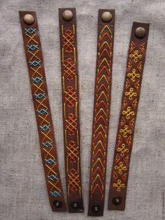 Купить Браслеты из кожи с вышивкой - коричневый, браслет из кожи, натуральная кожа, орнамент, узор