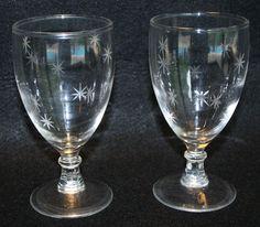 2 Vintage Wine Water Goblet Glasses Stemmed Starburst Atomic Barware MCM Etched