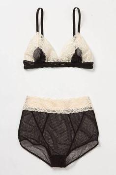 Black and ivory sheer mesh bra and undies