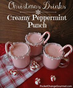 Whip up this delicious Peppermint Punch with just 3 ingredients - Egg Nog, Peppermint Ice Cream and Club Soda! Perfect for all your holiday parties! Add some Peppermint Schnapps and make it an adult beverage! Christmas Punch, Christmas Sweets, Christmas Drinks, Holiday Drinks, Holiday Treats, Fun Drinks, Yummy Drinks, Holiday Recipes, Holiday Parties