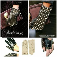 Stay warm for the winter with trendy pair of studded gloves. Get your iron on studs at kbazaar.etsy.com and have fun creating!